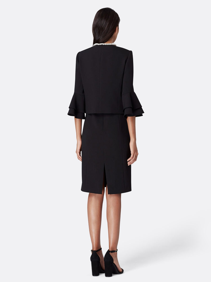 Back View of Women's Designer Crepe Jacket Dress Set in Black with Pearl Trip by Tahari