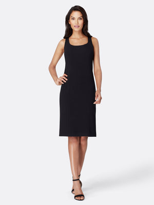 Front View of Women's Designer Black Dress by Tahari ASL