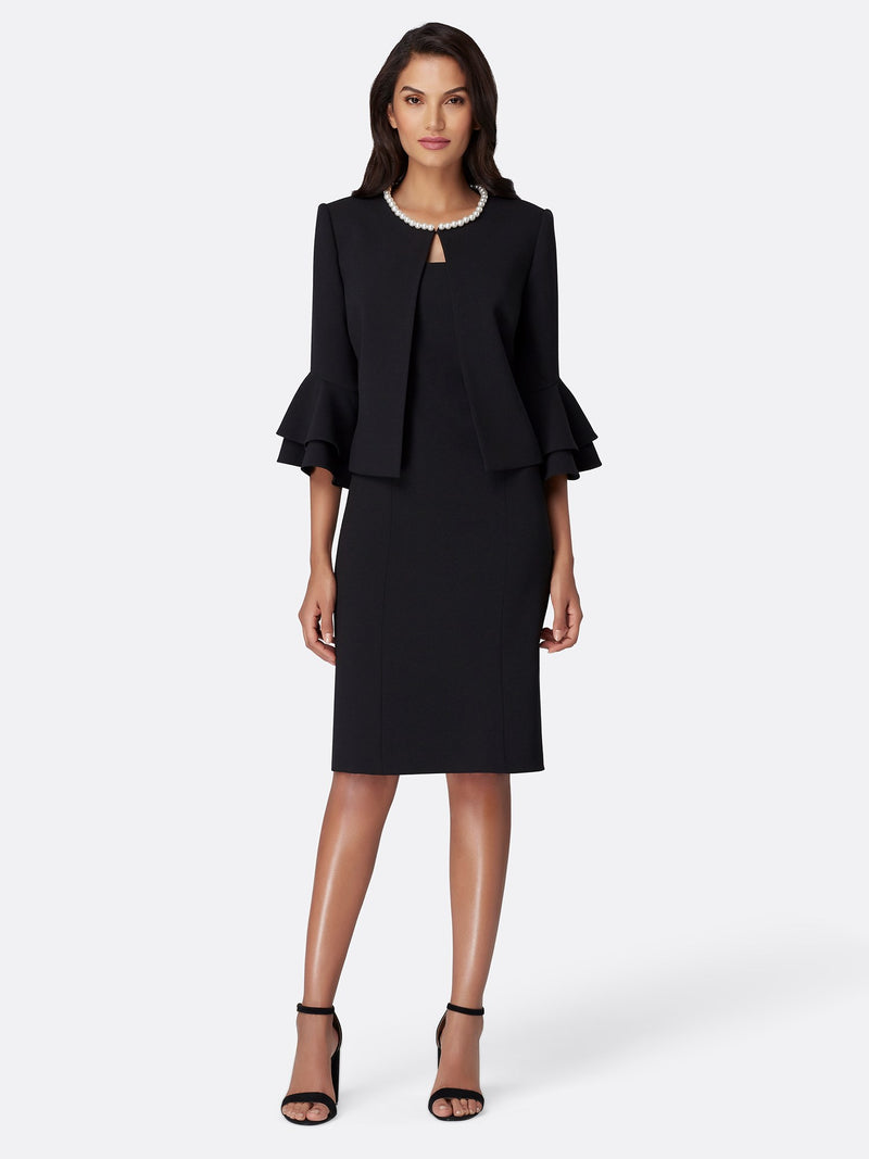 Front View of Women's Designer Crepe Jacket Dress Set in Black with Pearl Trip by Tahari ASL
