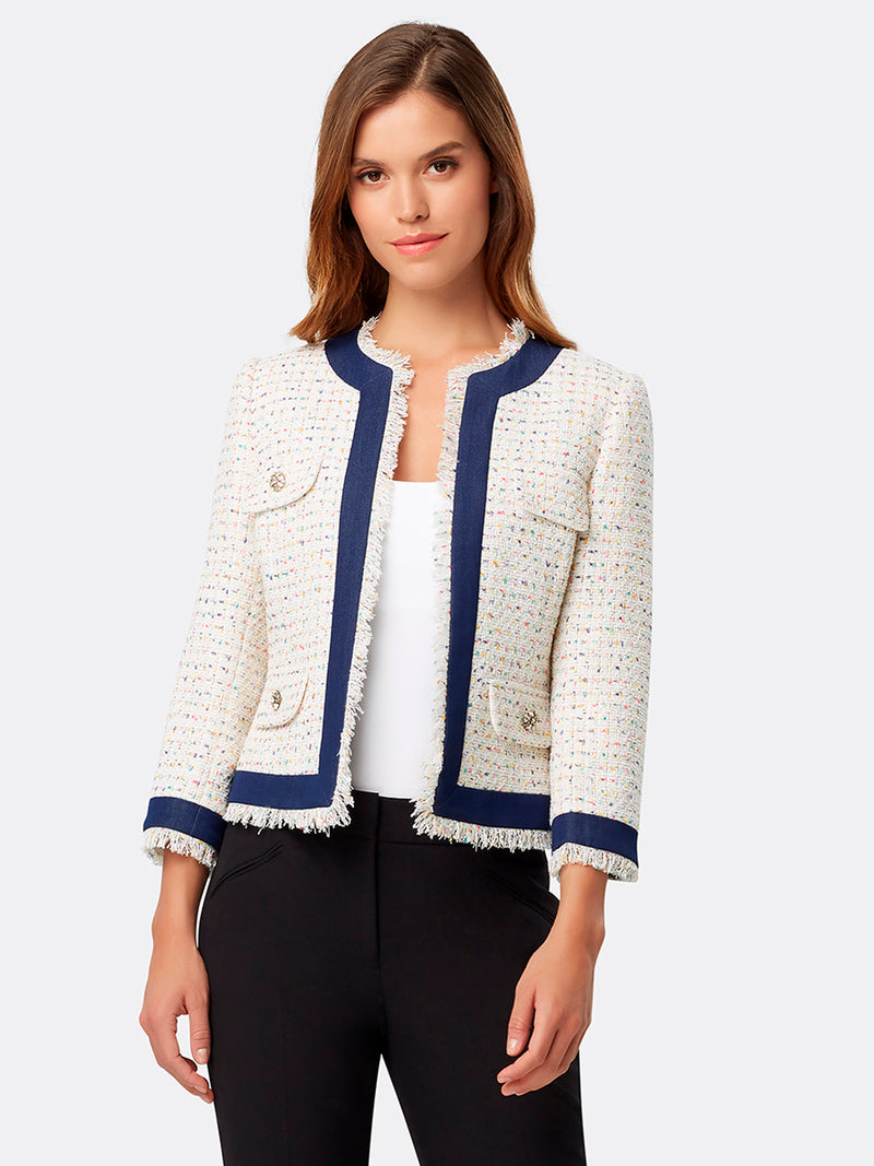 Fringed Denim-Framed Bouclé Jacket