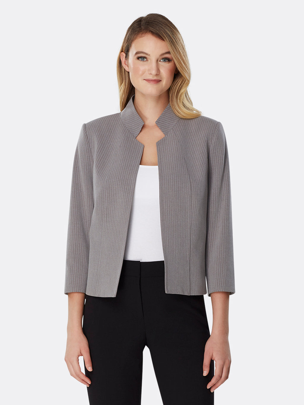 Pinstriped Bi-Stretch Stand Collar Jacket