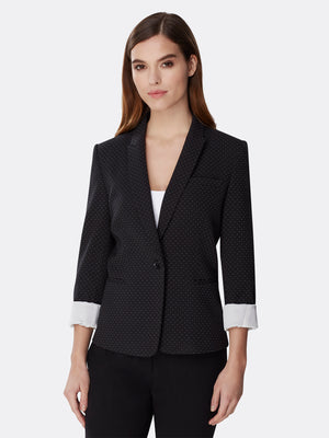 Contrast-Trimmed Pin Dot Jacket
