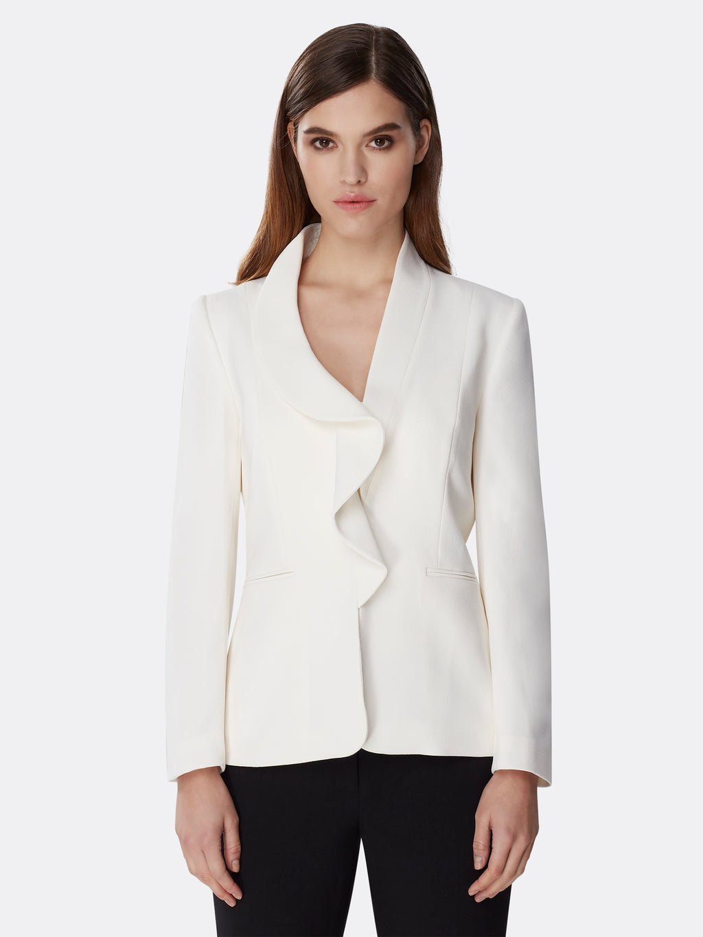 Asymmetric Ruffle Pebble Crepe Jacket