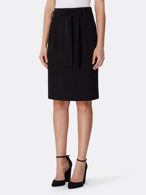 Tie Belt Bi-Stretch Skirt