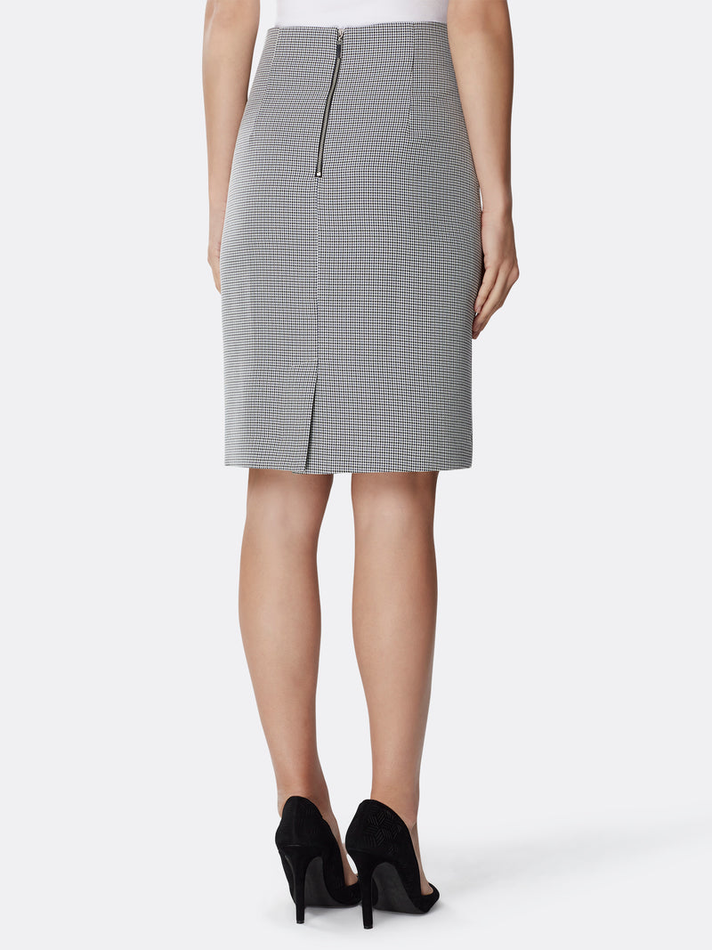 High-Waist Houndstooth Skirt