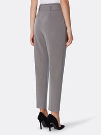 Paperbag Waist Pinstriped Crop Pants