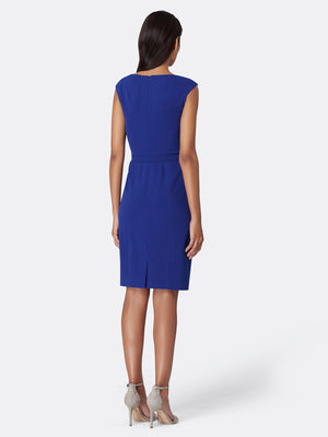 Belted Bi-Stretch Sheath Dress