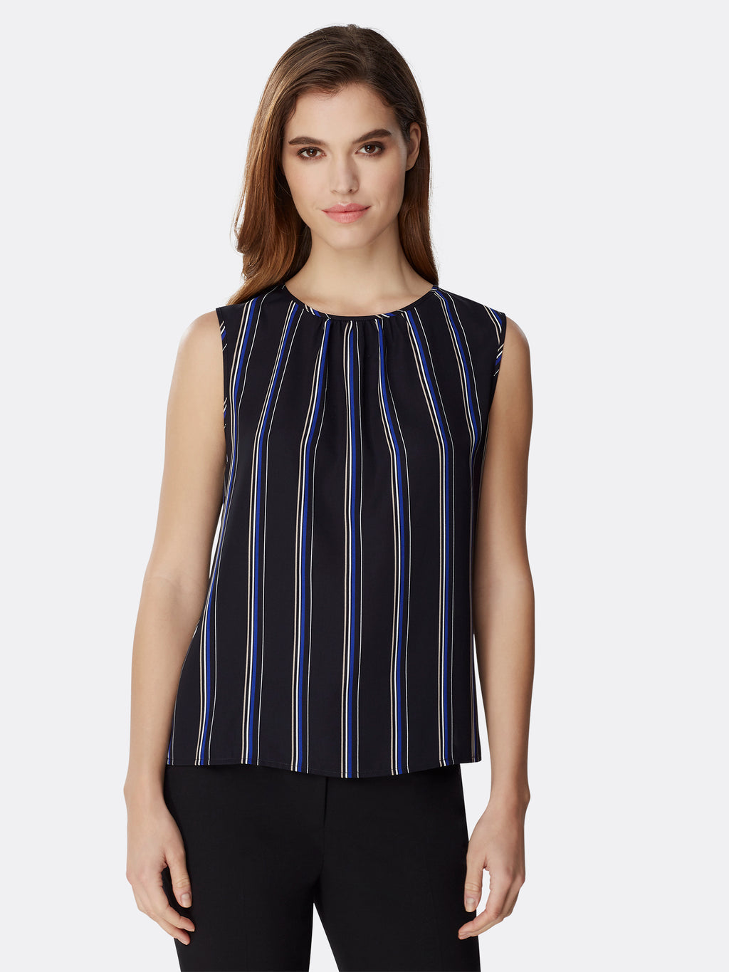 Shirred-Neck Striped Georgette Blouse