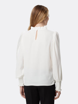 Smocked-Sleeve Crepe Blouse
