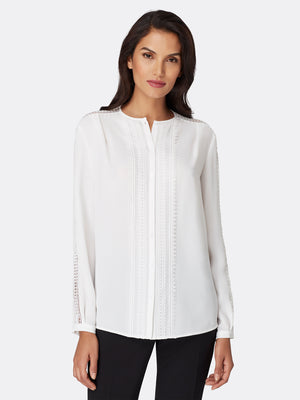 Crochet Lace-Trimmed Georgette Blouse