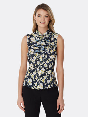 Double Ruffle Sleeveless Georgette Blouse