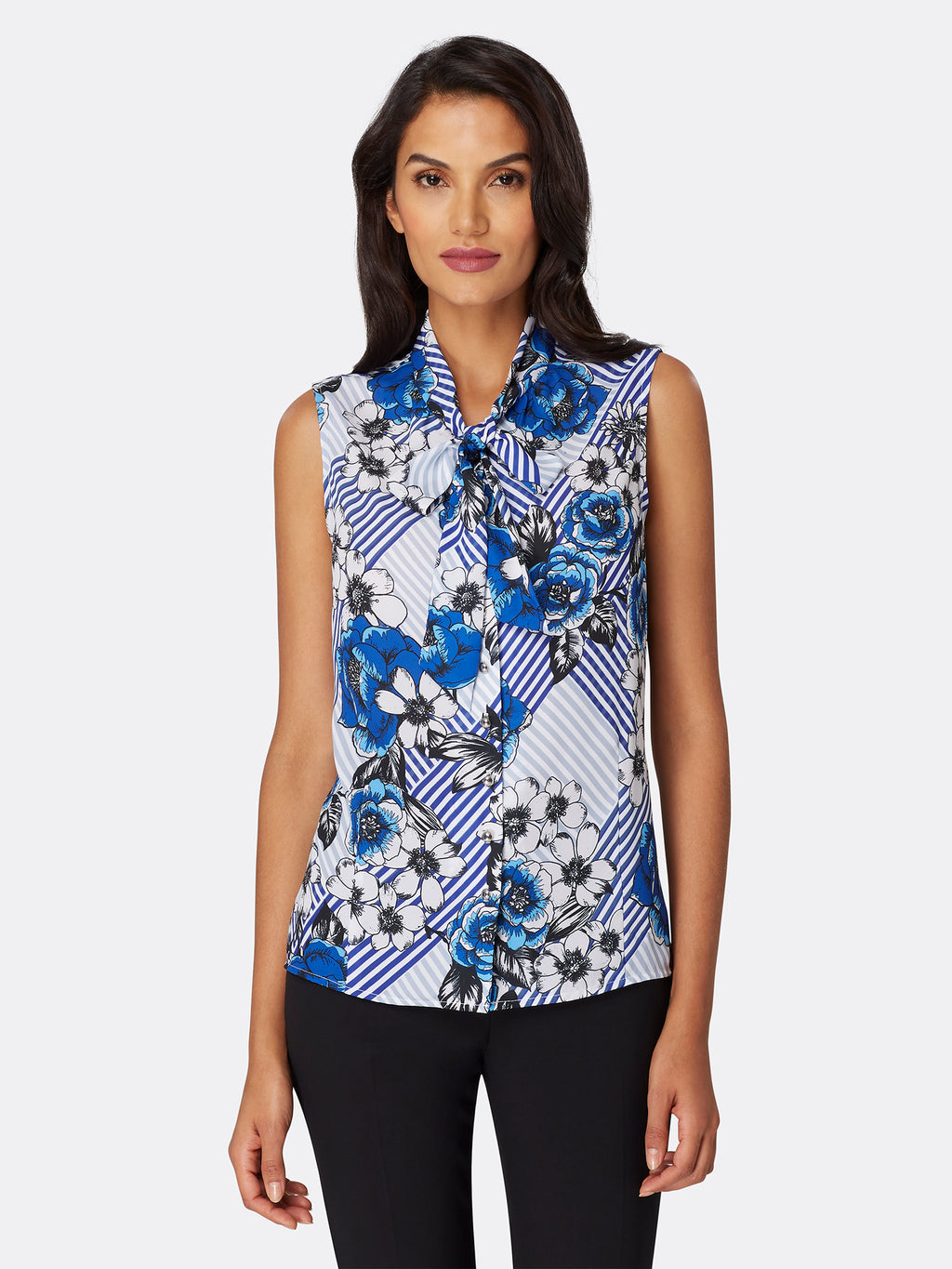 Geo Floral Print Low-Bow Blouse