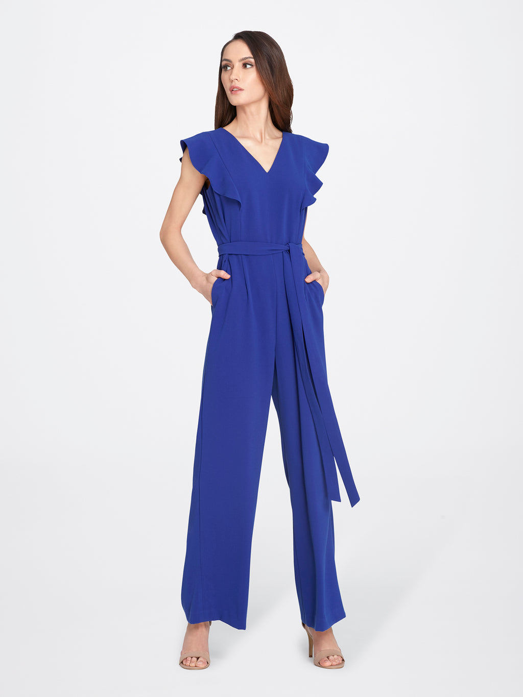 Ruffled V-Neck Crepe Jumpsuit