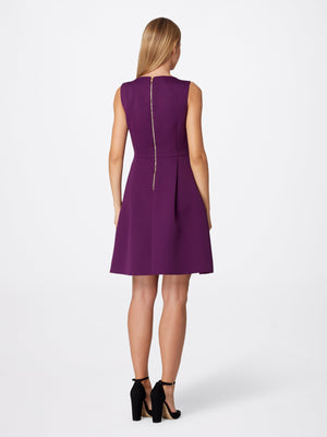 Back View of Women's Designer Round Neck Bow Dress in Purple by Tahari ASL