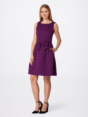 Front View of Women's Designer Round Neck Bow Dress in Purple by Tahari ASL
