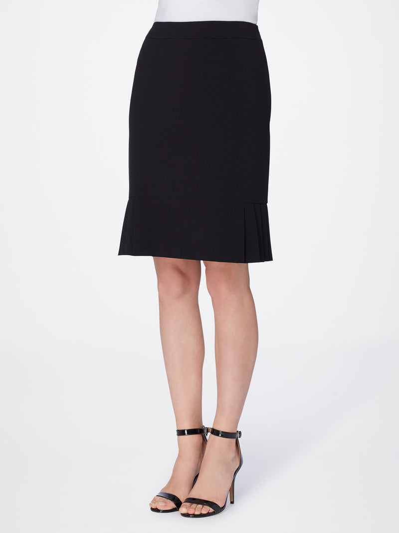 Front View of Women's Luxury Flare Skirt Bi Stretch by Tahari ASL BLACK