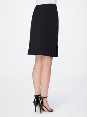 Back View of Women's Luxury Flare Skirt Bi Stretch by Tahari ASL BLACK