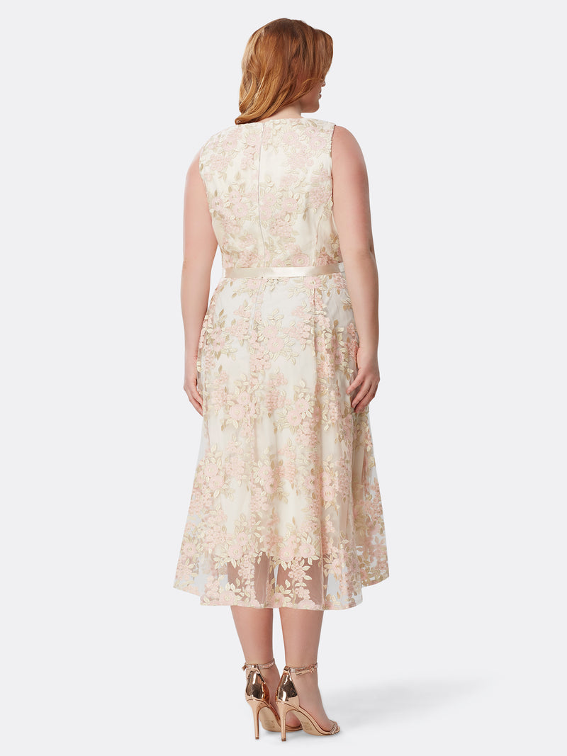 Embroidered Floral Ribbon Dress