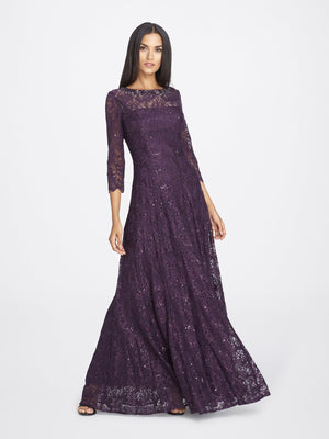 Front View of 3/4 Sleeve Lace A Line Women's Gown in Aubergine Purple | Tahari Asl AUBERGINE