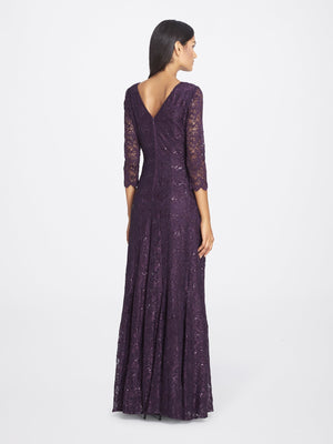 Back View of 3/4 Sleeve Lace A Line Women's Gown in Aubergine Purple | Tahari Asl AUBERGINE