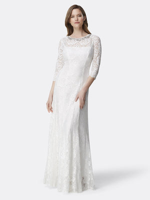 Front View of 3/4 Sleeve Lace A Line Women's Gown in Ivory White | Tahari Asl IVORY WHITE