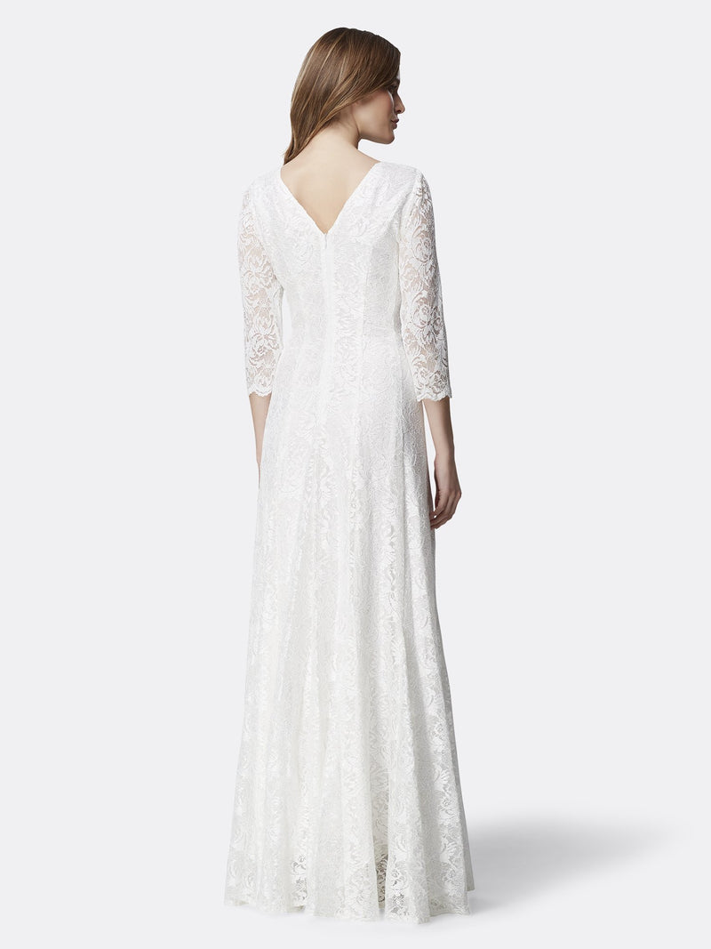 Back View of 3/4 Sleeve Lace A Line Women's Gown in Ivory White | Tahari Asl IVORY WHITE