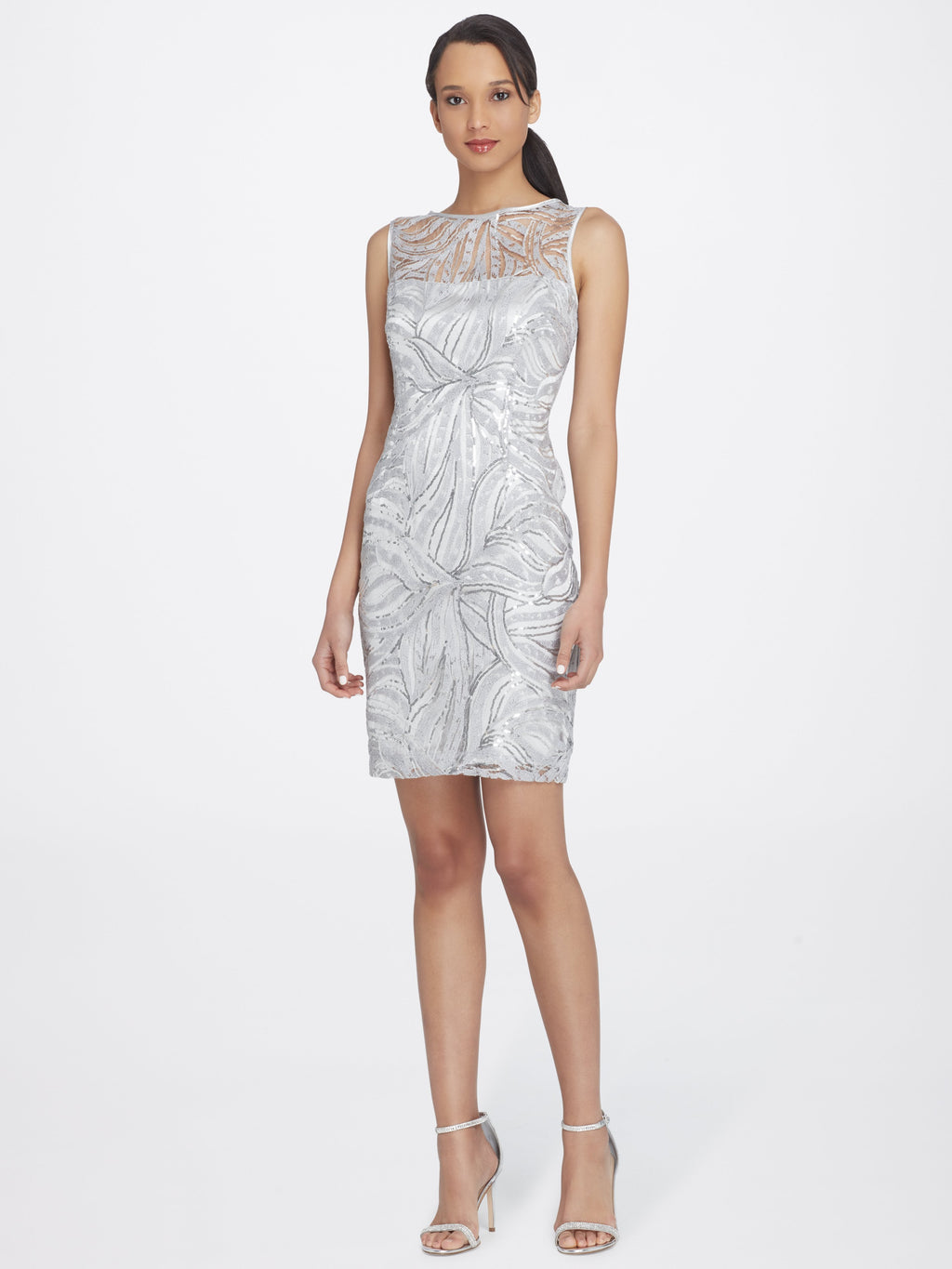 Sleeveless Illusion Neckline Sequin Dress