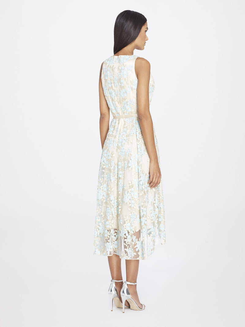 Back View of Jewelneck Sleeveless Lace Dress in Champagne White With Blue Petals | Tahari Asl NUDE/ICE BLUE/GOLD
