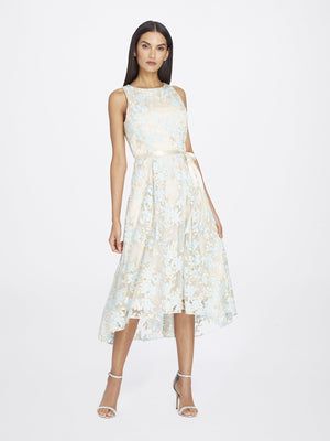 Front View of Jewelneck Sleeveless Lace Dress in Champagne White With Blue Petals | Tahari Asl NUDE/ICE BLUE/GOLD