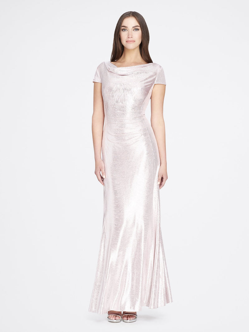 Front View of Cowlneck Cap Sleeve Silver Blush Pink Women's Gown | Tahari Asl SILVER BLUSH