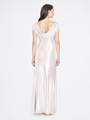 Back View of Cowlneck Cap Sleeve Silver Blush Pink Women's Gown | Tahari Asl SILVER BLUSH