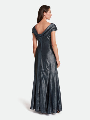 Metallic Foil Ruched Gown