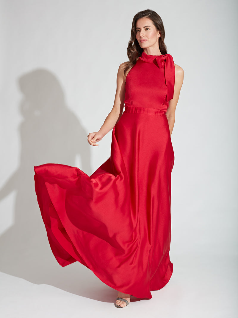 Hammered Satin Bow-Neck Gown