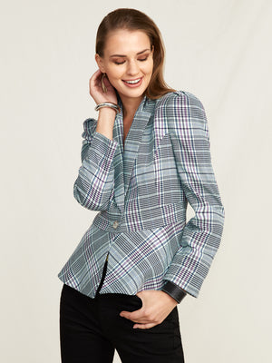 Houndstooth Plaid Peplum Jacket