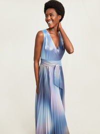 Foil Chiffon Pleated Gown