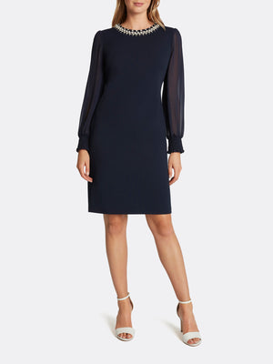 Scuba Crepe Bead-Neck Sheath Dress