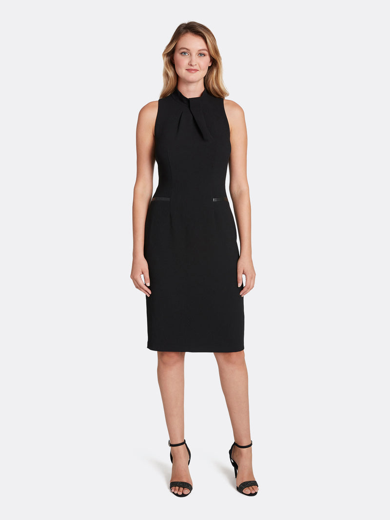 Crepe Fold-Neck Sheath Dress
