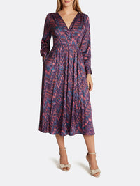 Satin Georgette Abstract Print Dress