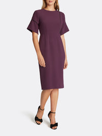 Sleeve-Detailed Sheath Dress