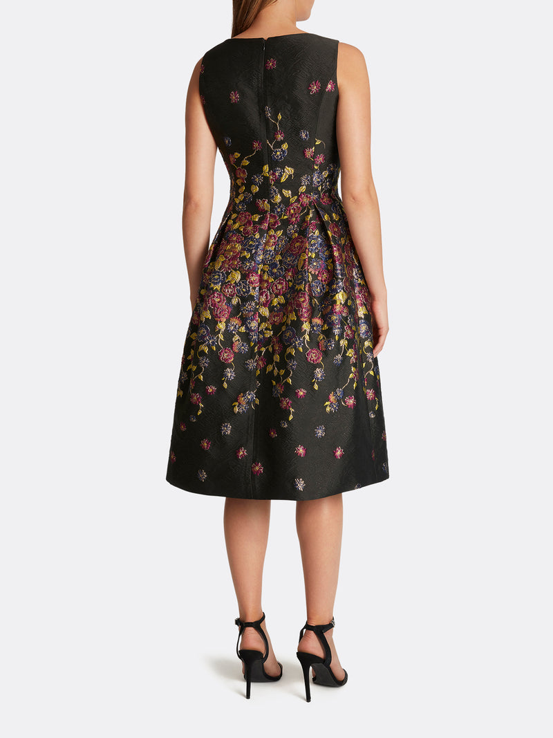 Lurex Floral Jacquard Midi Dress