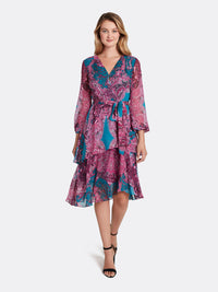 Paisley Chiffon Tiered Dress