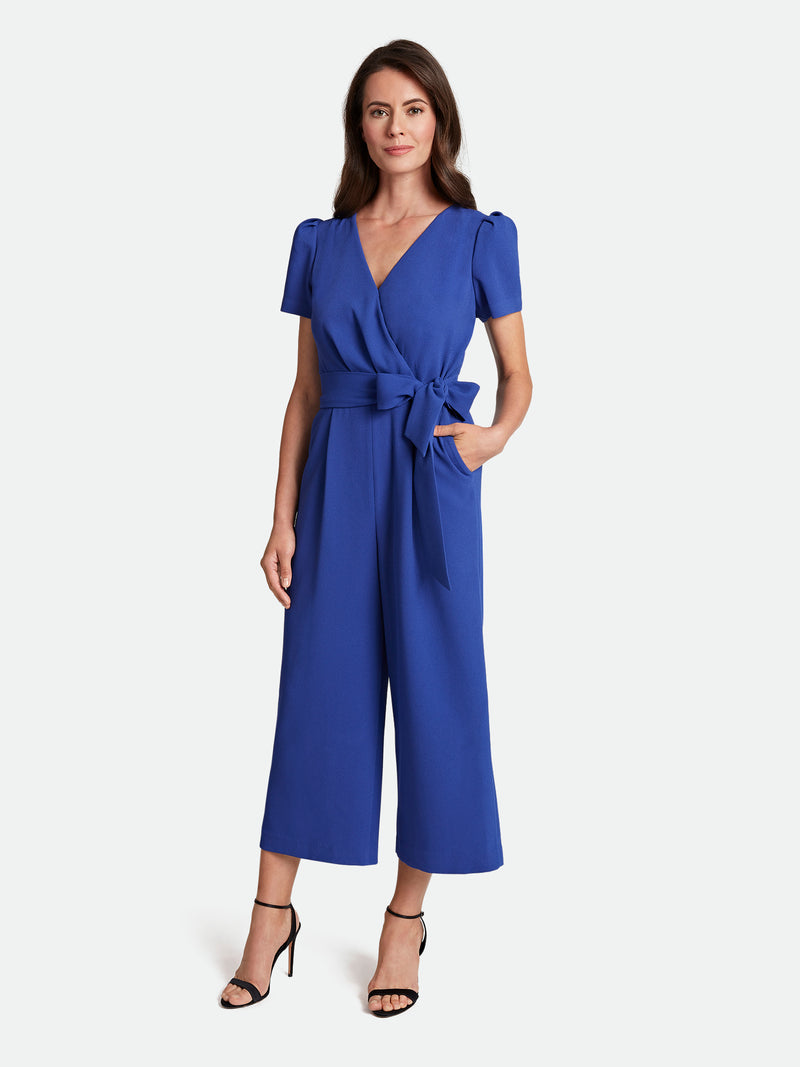 Crepe Surplice-Wrap Cropped Jumpsuit