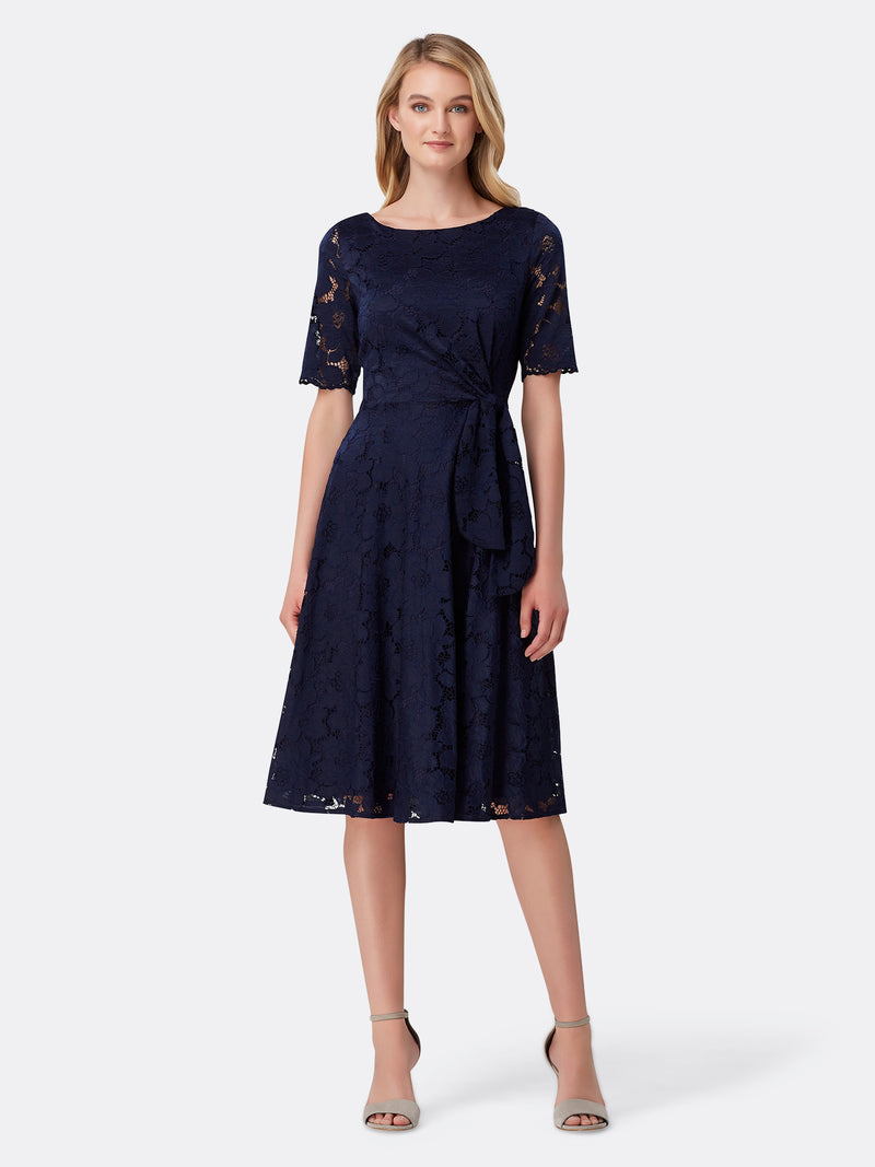 Front View of Women's Luxury Side Tie Dress by Tahari ASL