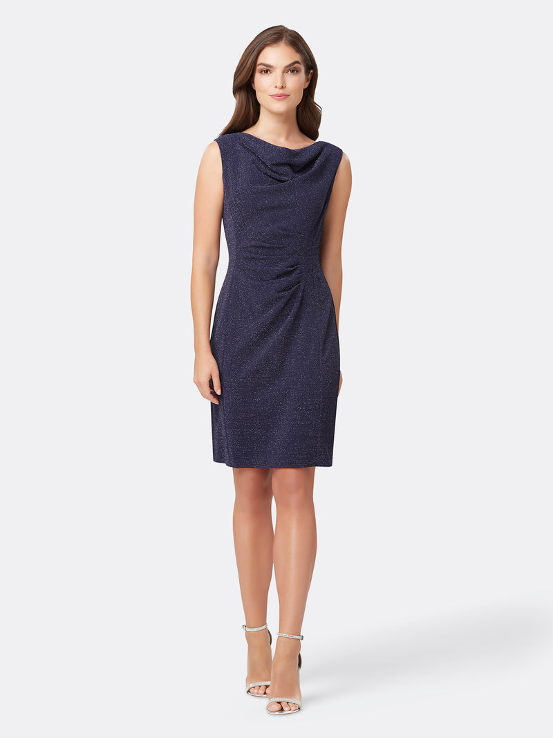 Front View of Women's Luxury Cowl Neck Dress Sleeveless in Navy Blue | Tahari ASL