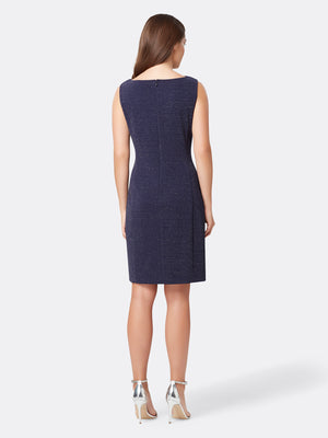 Back View of Women's Luxury Cowl Neck Dress Sleeveless in Navy Blue | Tahari ASL