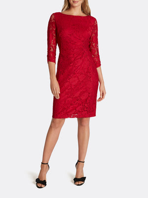 Floral Lace Side-Ruched Dress