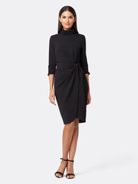Front View of Women's Black Wrap Dress With Mock Neck | Tahari ASL Black