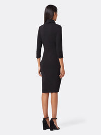 Back View of Women's Black Wrap Dress With Mock Neck | Tahari ASL Black
