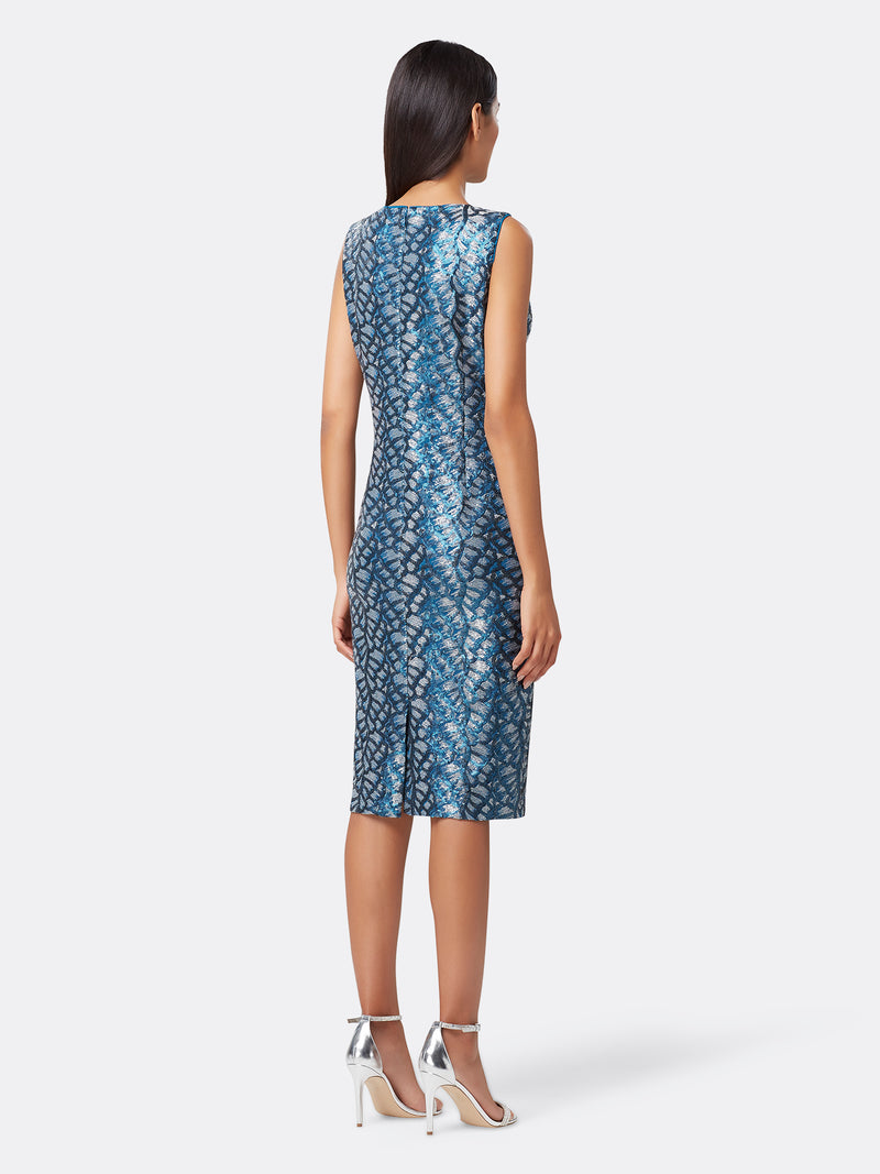 Back View of Women's Designer Sheath Dress by Tahari ASL Teal Sequin Vine