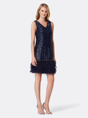 Front View of Women's Designer V Neck Dress with Feathers in Navy Blue | Tahari ASL Navy